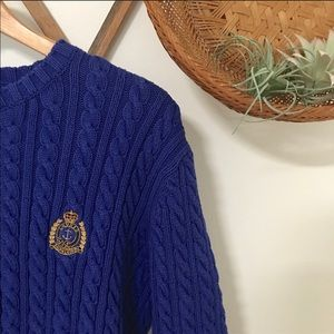 Vintage Ralph Lauren royal blue cable knit sweater